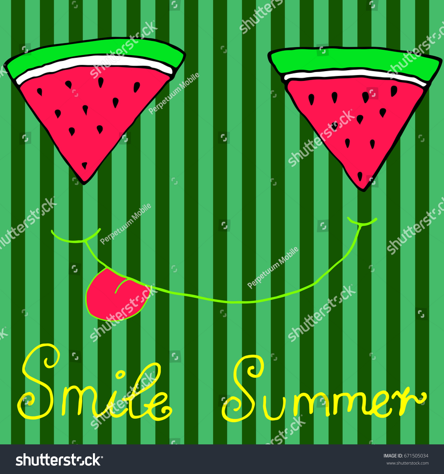 joyful sliced watermelon slices smiling showing stock vector