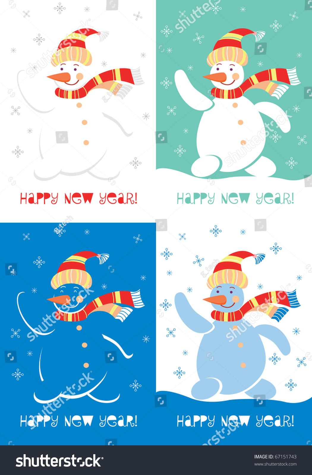 Merry Christmas Greeting Card Snowman Portfolio Stock Illustration