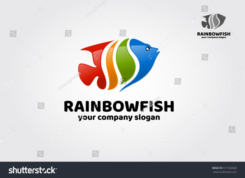 Rainbow Fish Logo Template Hip Outstanding Stock Vector Royalty