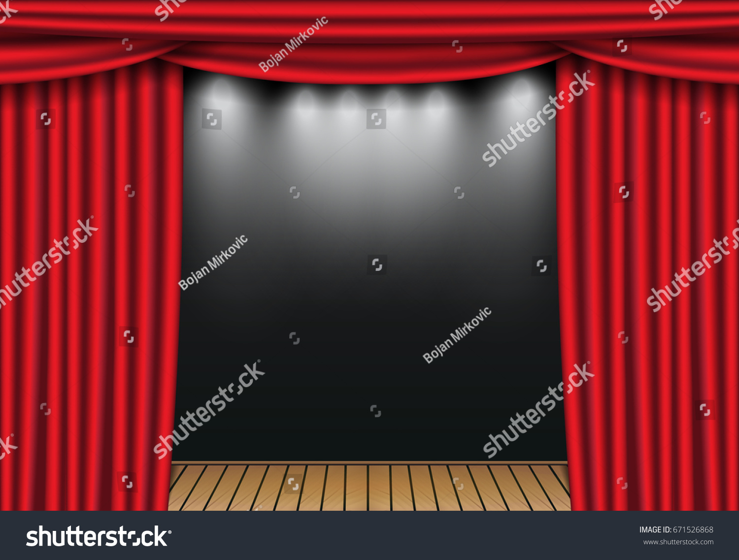 Stage curtains spotlight - Red Theater Curtains With Spotlight And Wooden Stage Open Velvet Drapes Vector Illustration