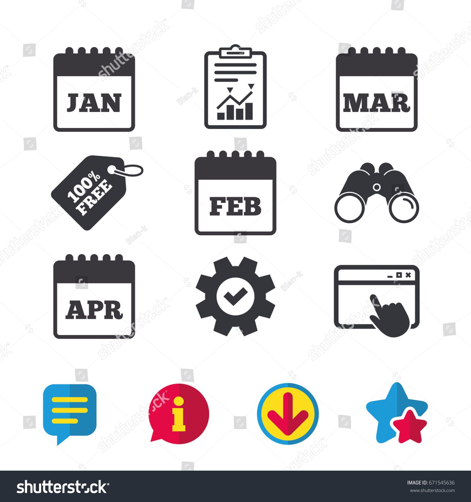 Calendar icons january february march april stock vector 671545636 january february march and april month symbols date or event buycottarizona