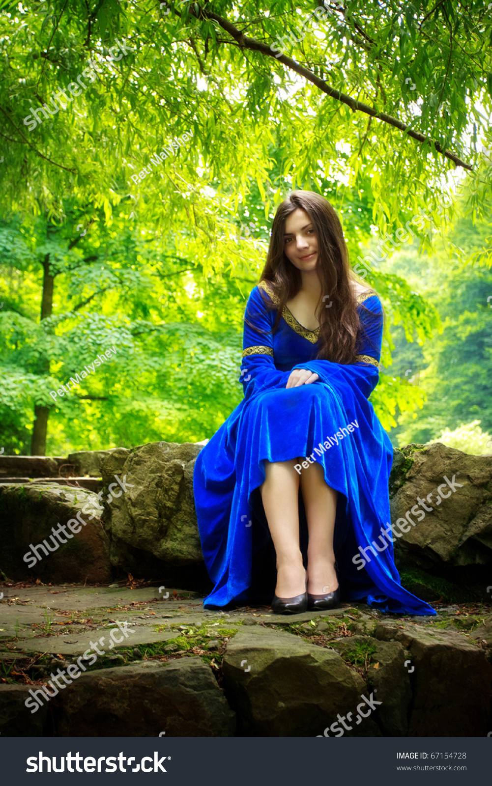 Medieval Girl Blue Dress Sitting On Stock Photo 67154728 ...