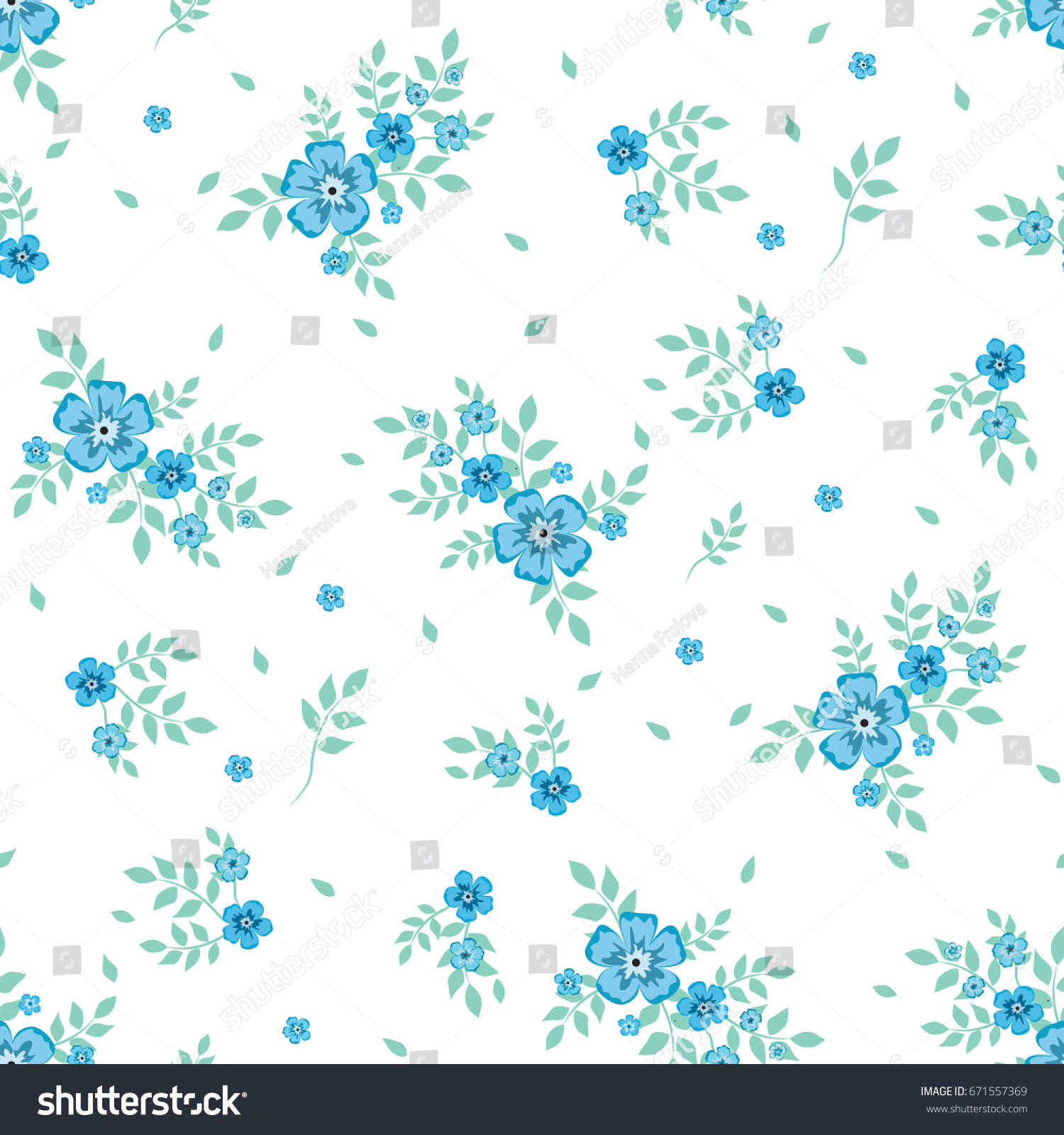 Seamless floral pattern background small blue stock vector royalty seamless floral pattern background in small blue flowers on a white background for textiles mightylinksfo
