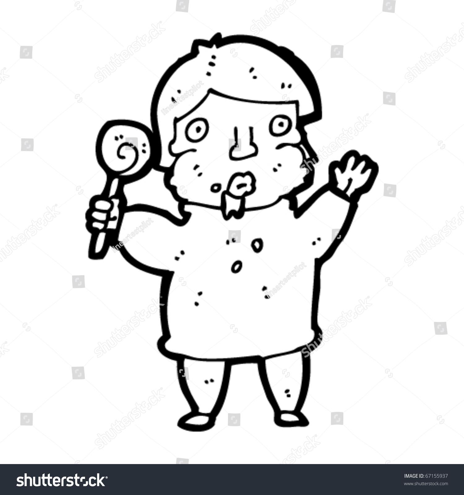 Fat Kid Eating Sweets Cartoon