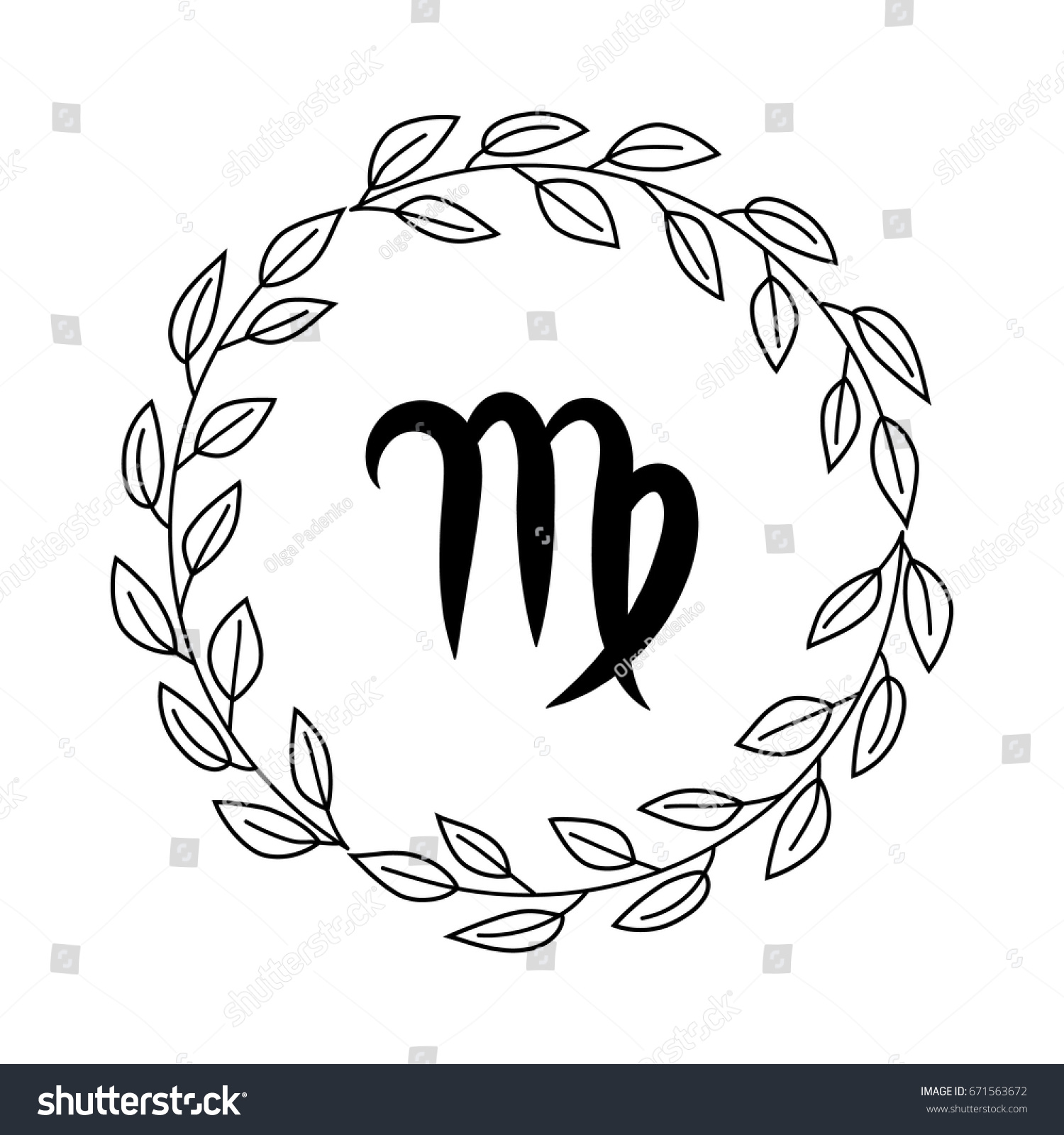 Hand drawing flat virgo symbol rustic stock vector 671563672 hand drawing flat virgo symbol in rustic floral wreath buycottarizona
