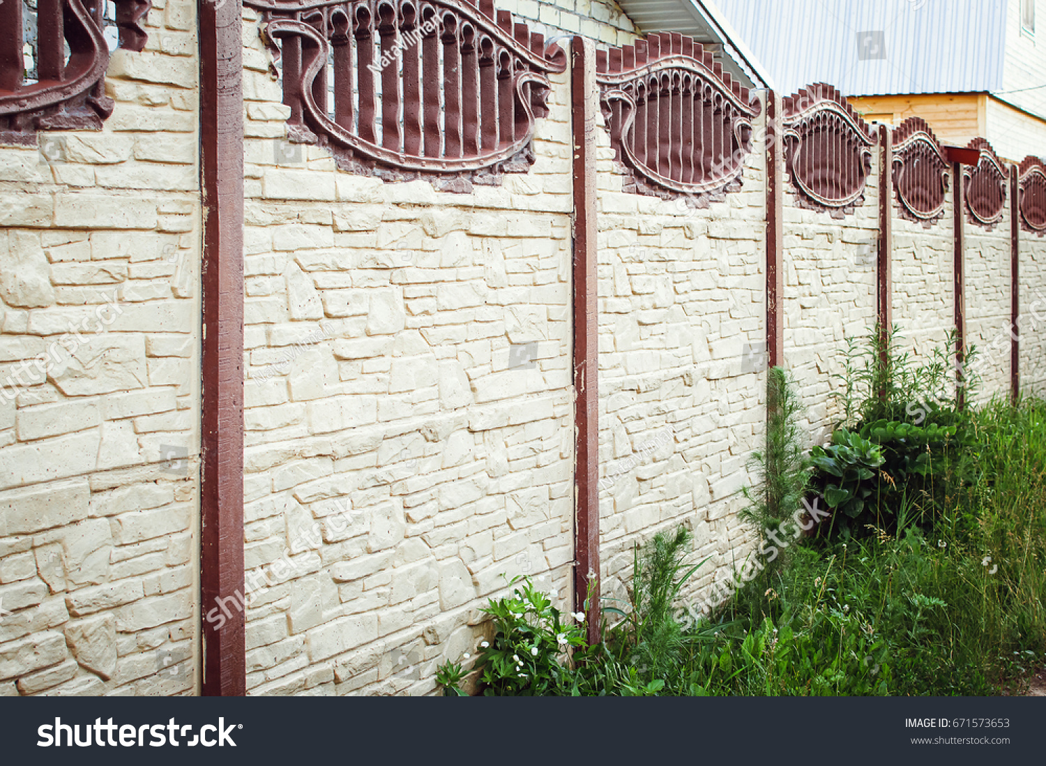 Beautiful Concrete Fence Modern Style Design Stock Photo (Safe to ...