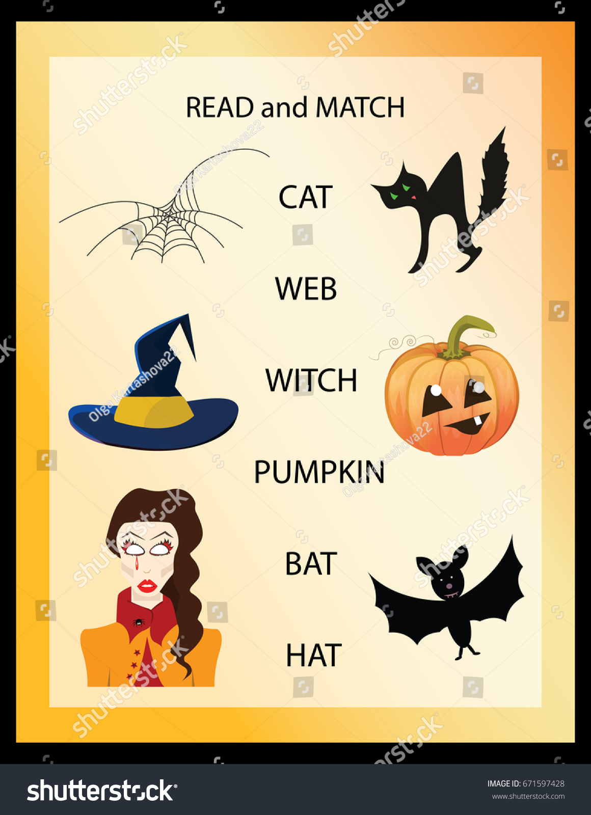 Read Match Halloween Kids Printable Game Stock Vector Royalty Free