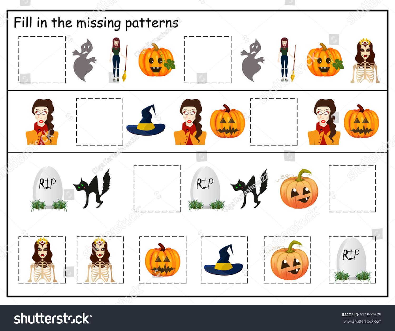 Logic Preschool Kindergarten Worksheet Halloween Preschool Stock