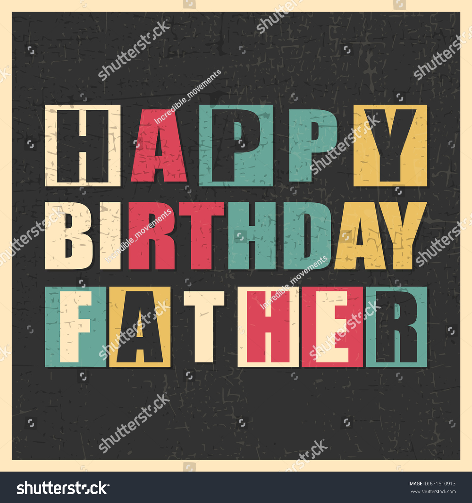Colorful Greeting Card Happy Birthday Father On Black Background