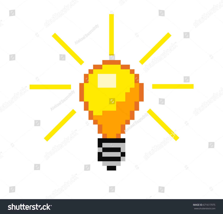 Vector Pixel Light Bulb 8 Bit Stock Vector Royalty Free 671617975