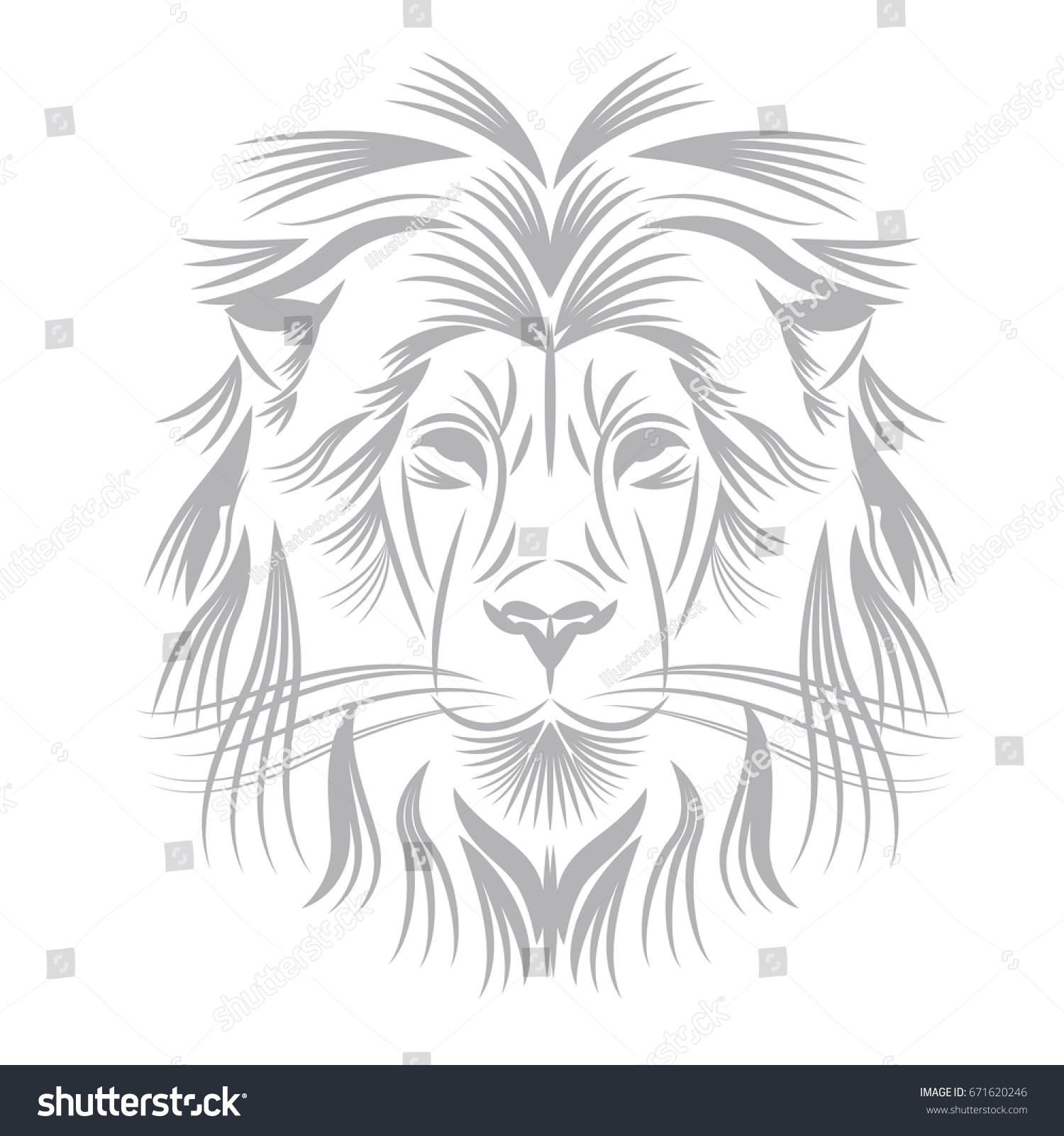 isolated outline lion face vector illustration stock vector