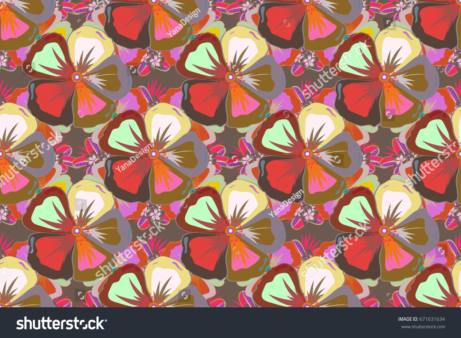 Bright Beautiful Flowers Seamless Background Abstract Stock