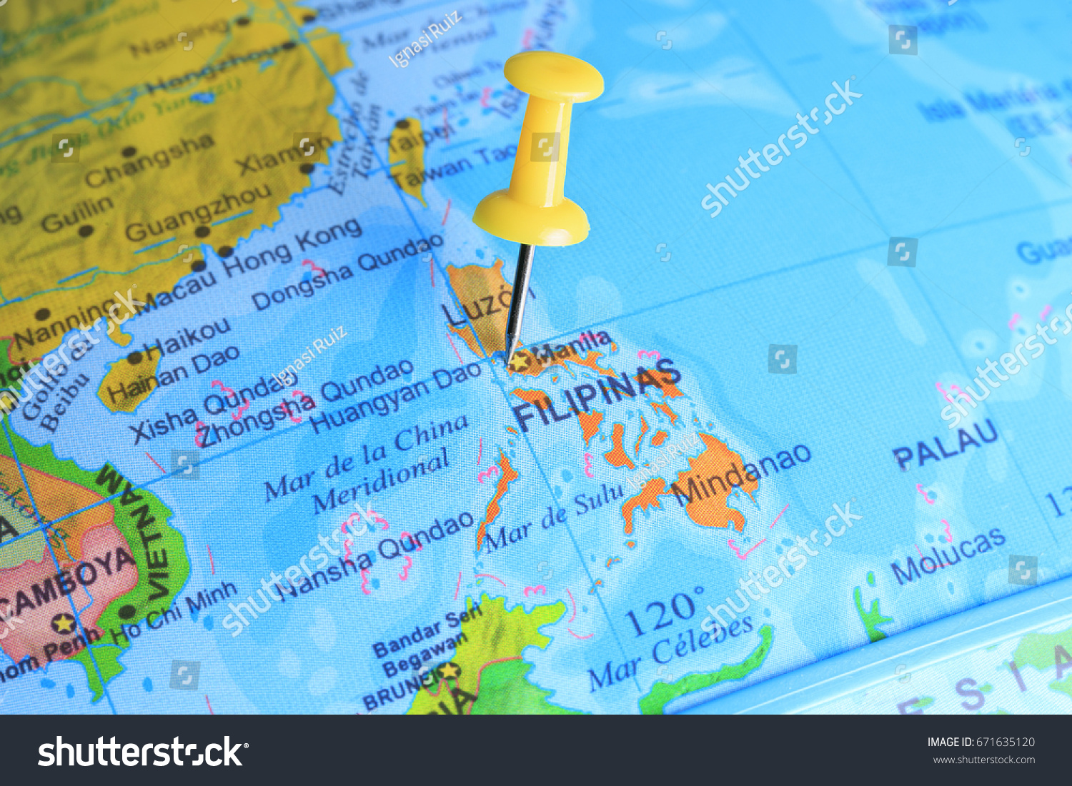 Philippines Pinned On Map Asia Stock Photo Shutterstock - Huangyan map