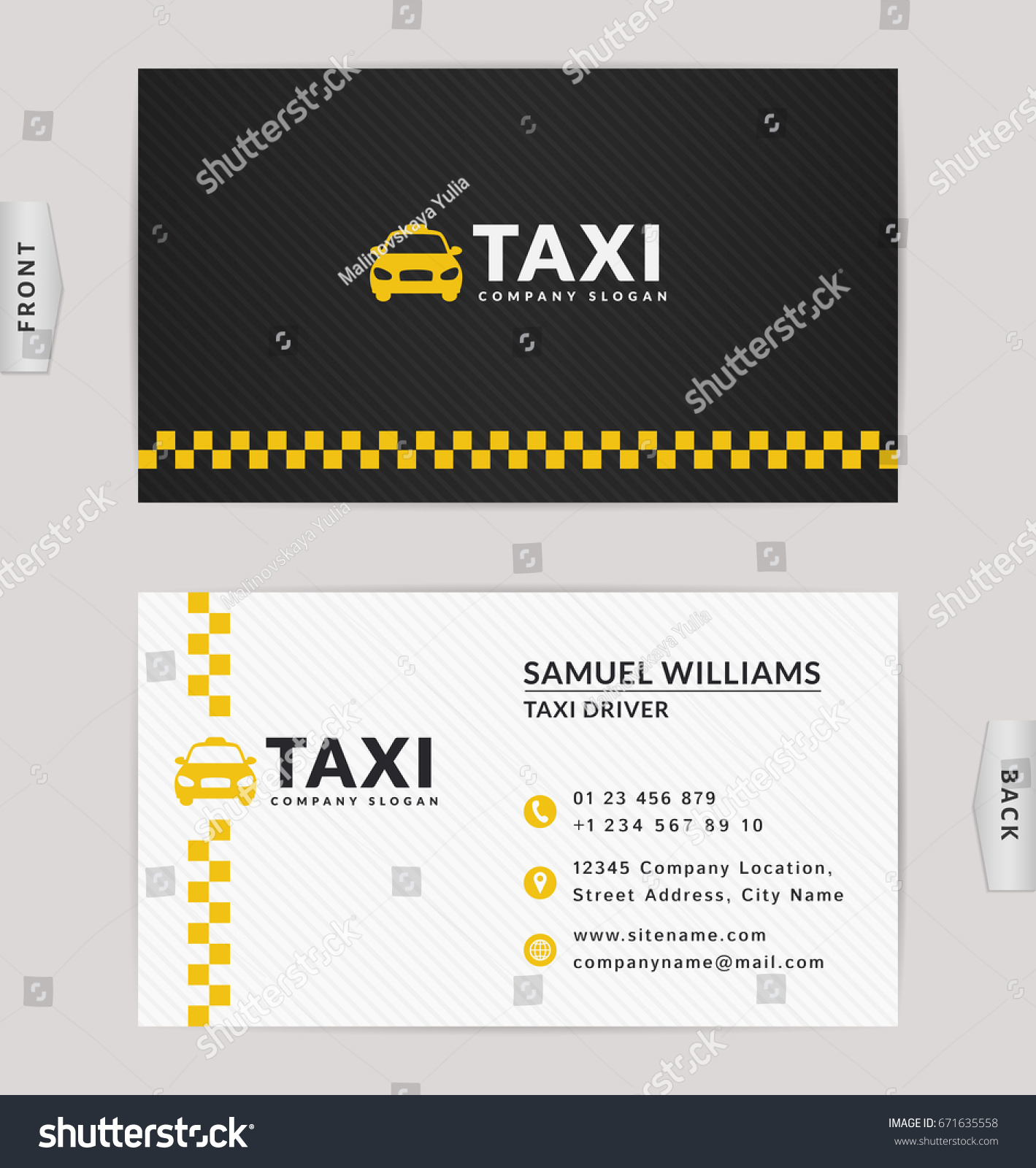 Business Card Design Black White Yellow Stock Vector 671635558 ...