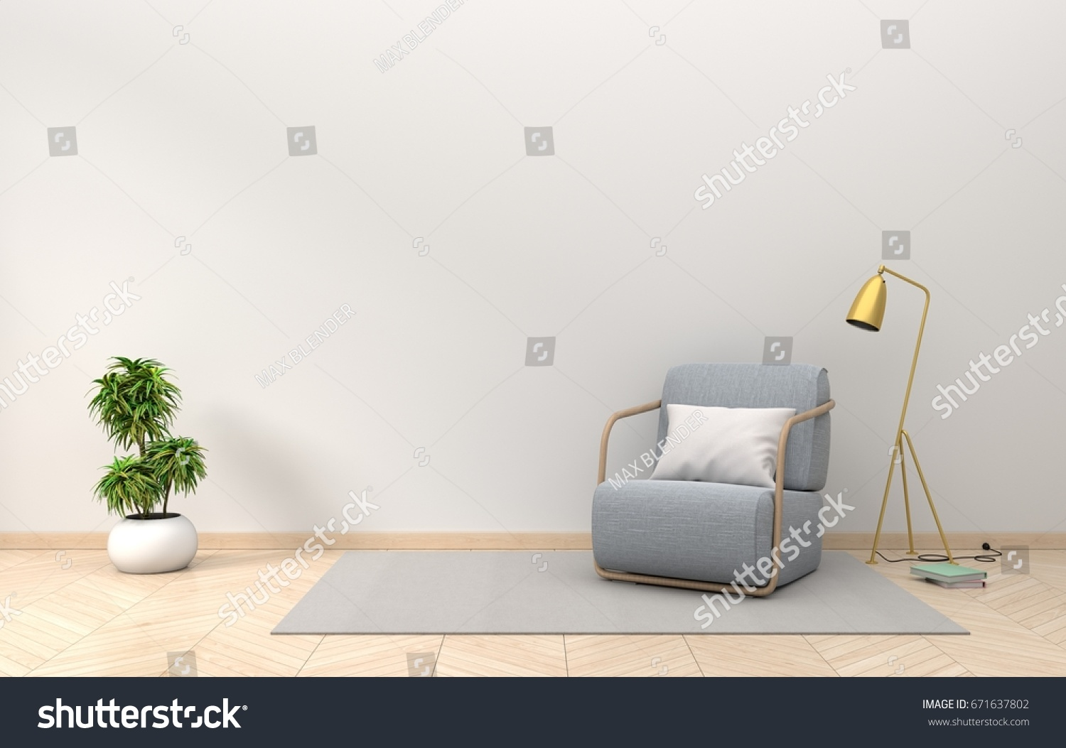 Living Room Interior Wall Mockup With Fabric Armchair Golden Lamp And Plants On Empty White