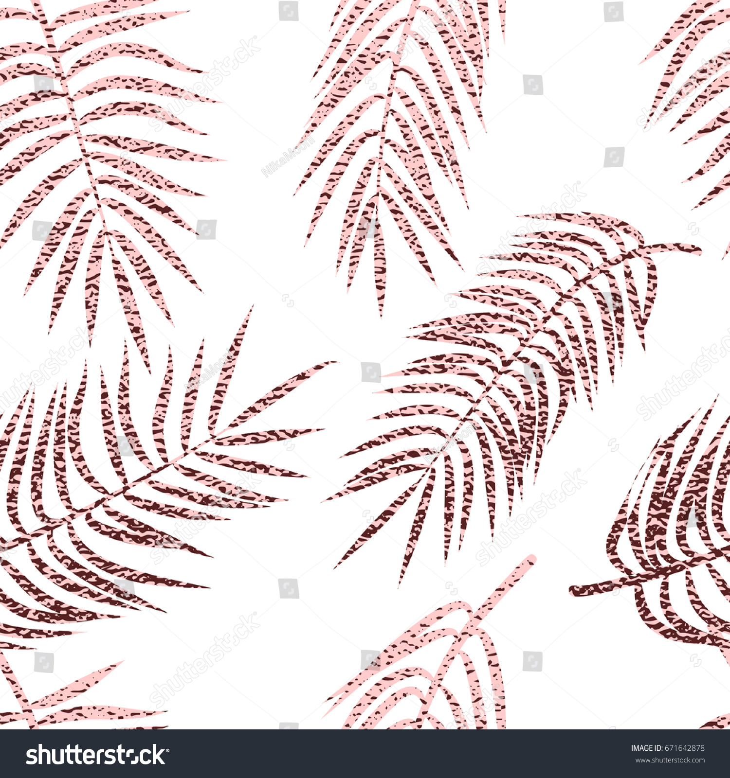 Rose Gold Tropical Palm Leaves Seamless Pattern On White Background