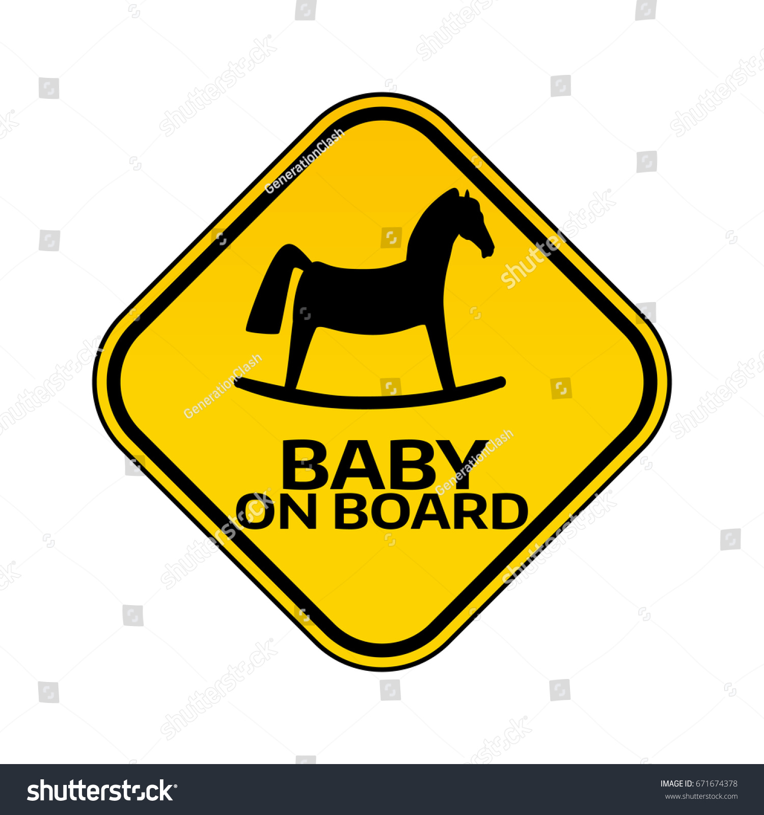 Baby On Board Sign Child Horse Stock Vector 671674378 Shutterstock