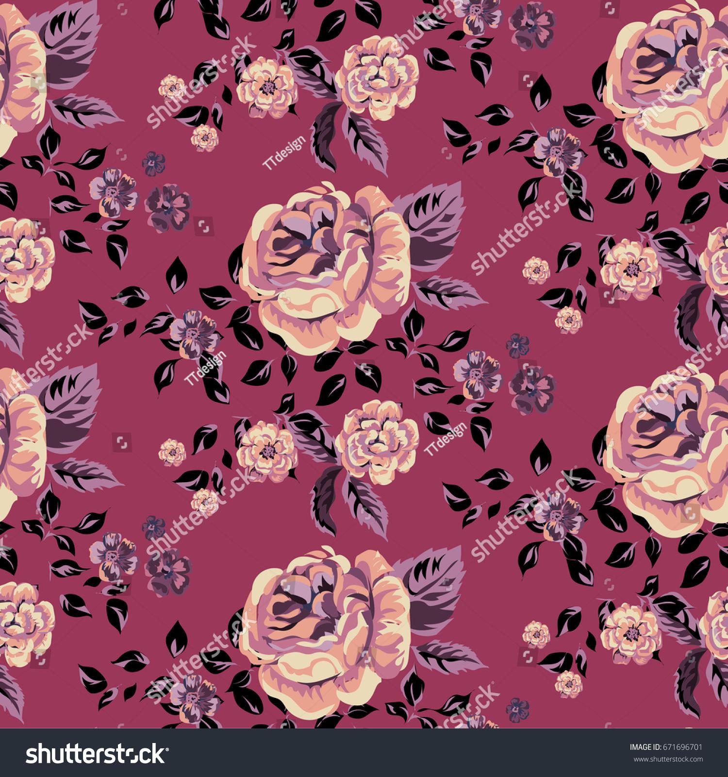 Traditional Retro Flower Summer Seamless Pattern Stock Vector