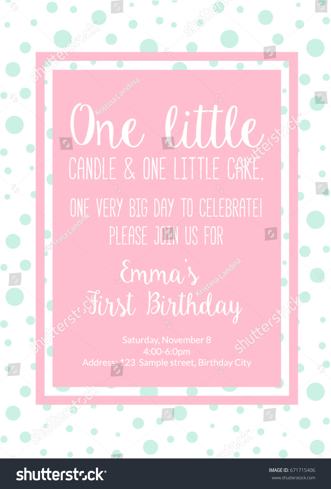 First Birthday Invitation Girl Party One Year Old Pink Printable Invite