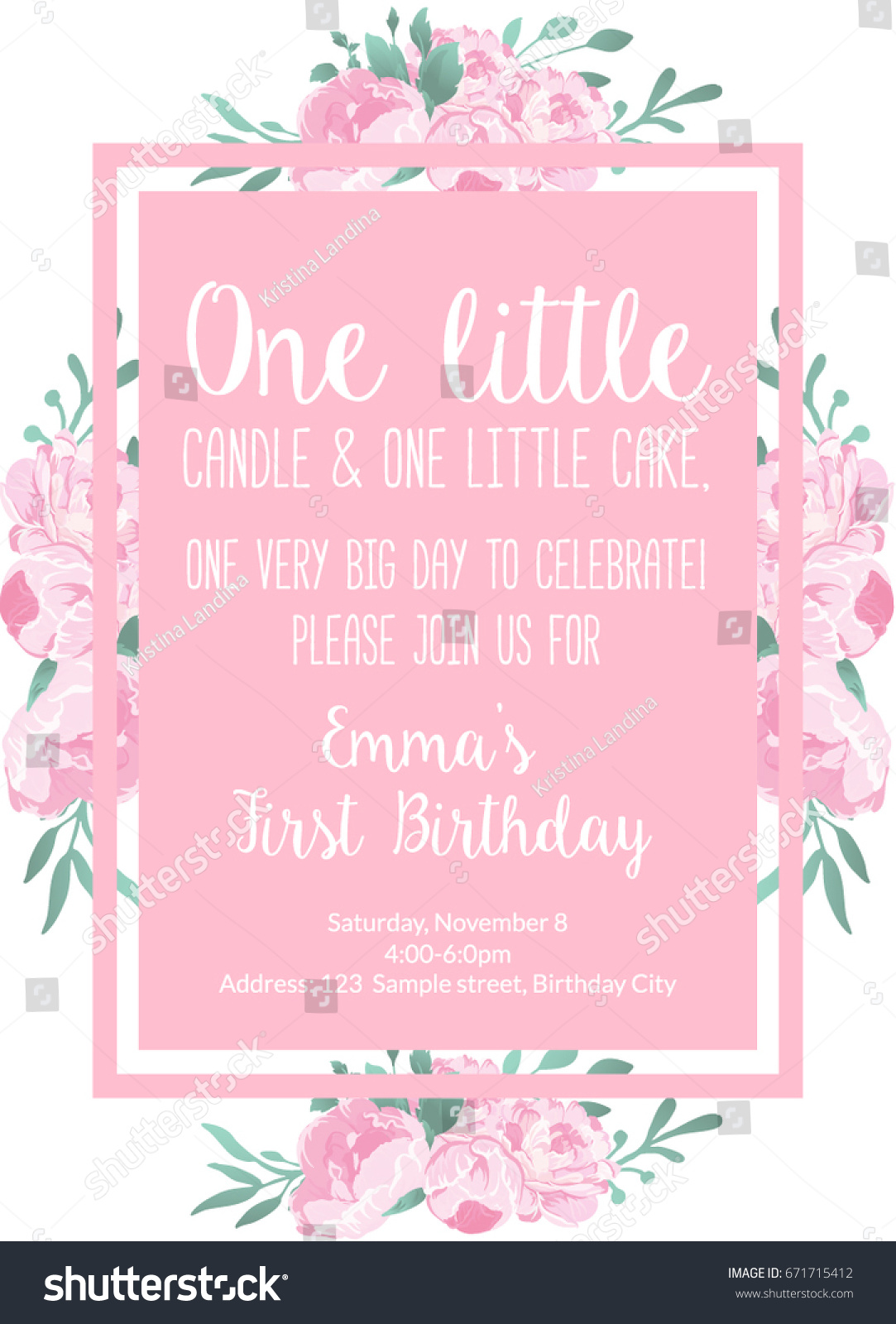 First Birthday Invitation Light Pink For Girl Party With Text One Little Candle And Cake Year