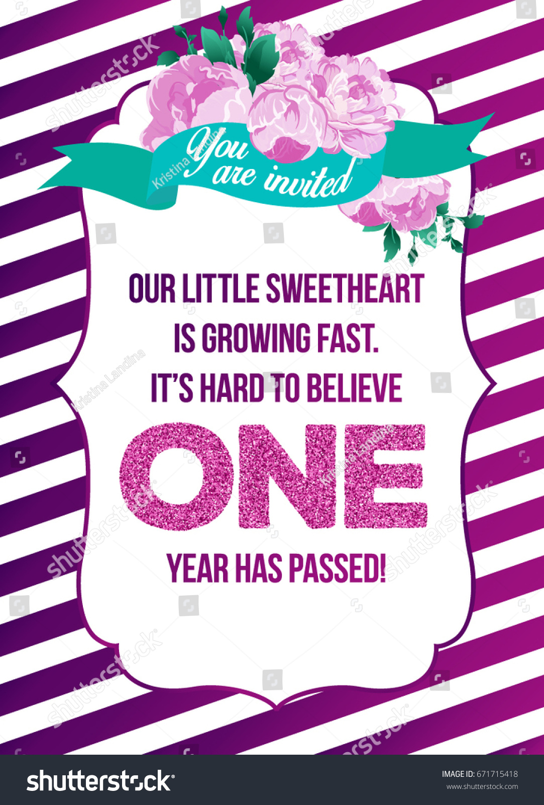 First Birthday Invitation Girl First Birthday Vector – One Year Old Birthday Invitation