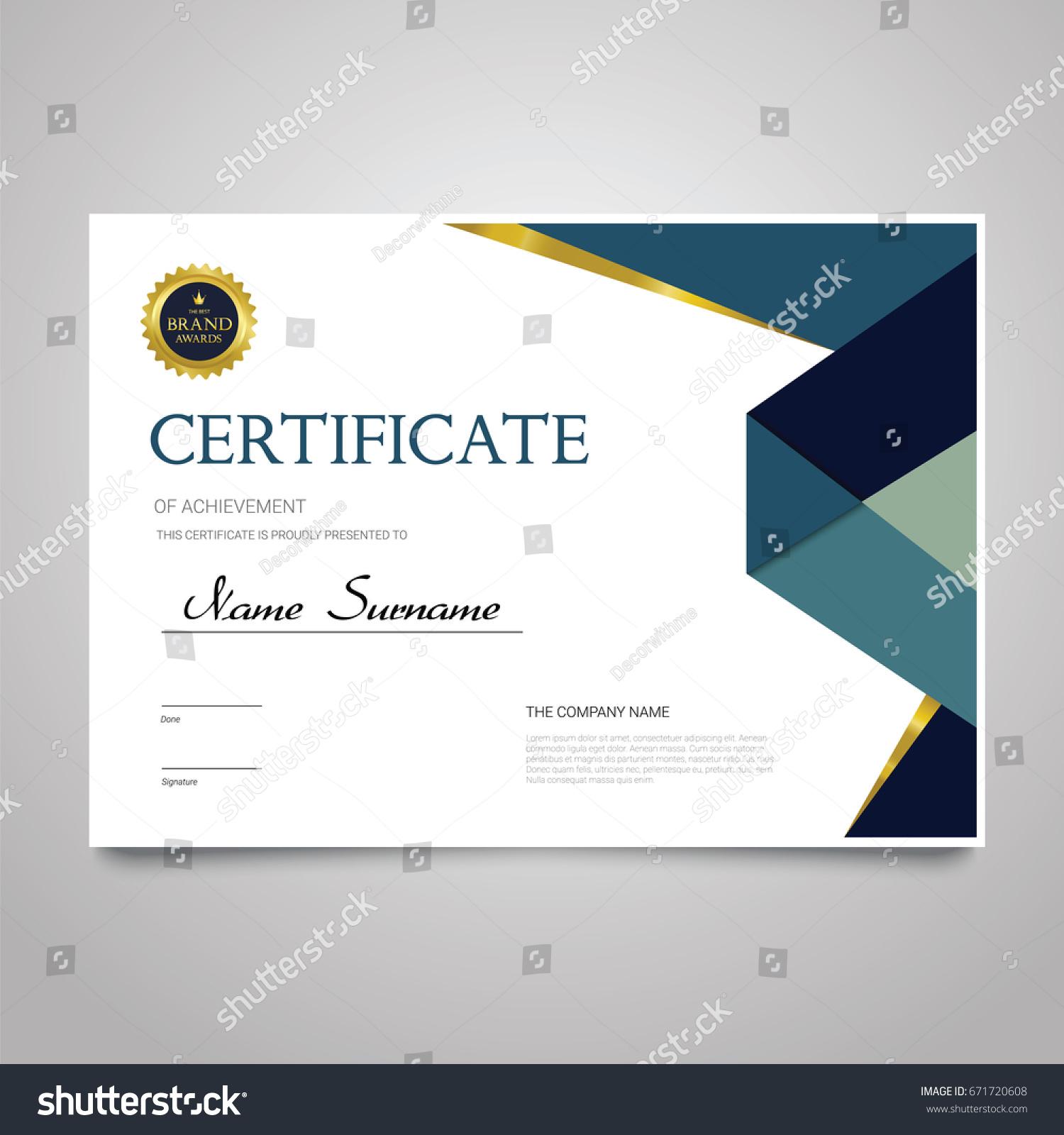 Certificate template modern horizontal elegant vector for Copy design