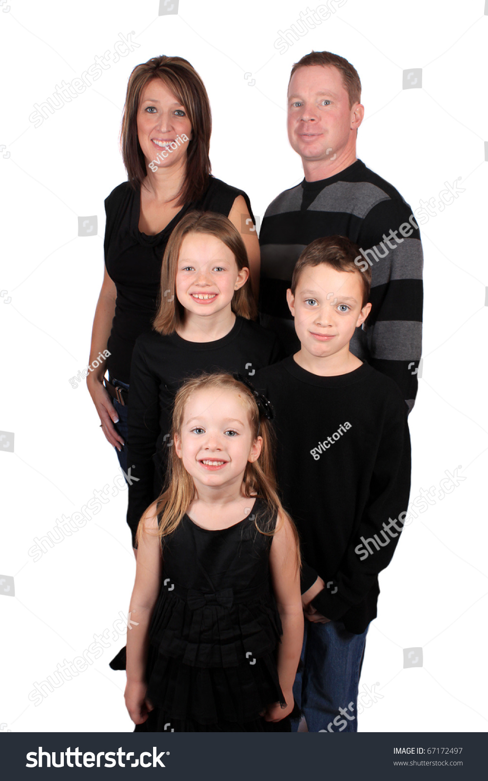 Young Family Portrait Parents Two Girls Stock Photo Edit Now