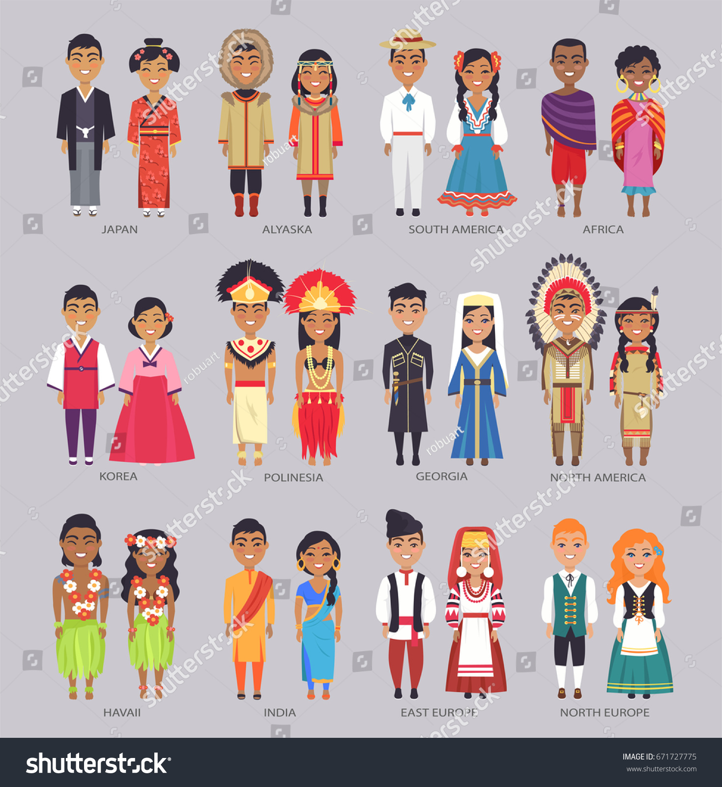 young couples traditional clothes presenting their stock vector