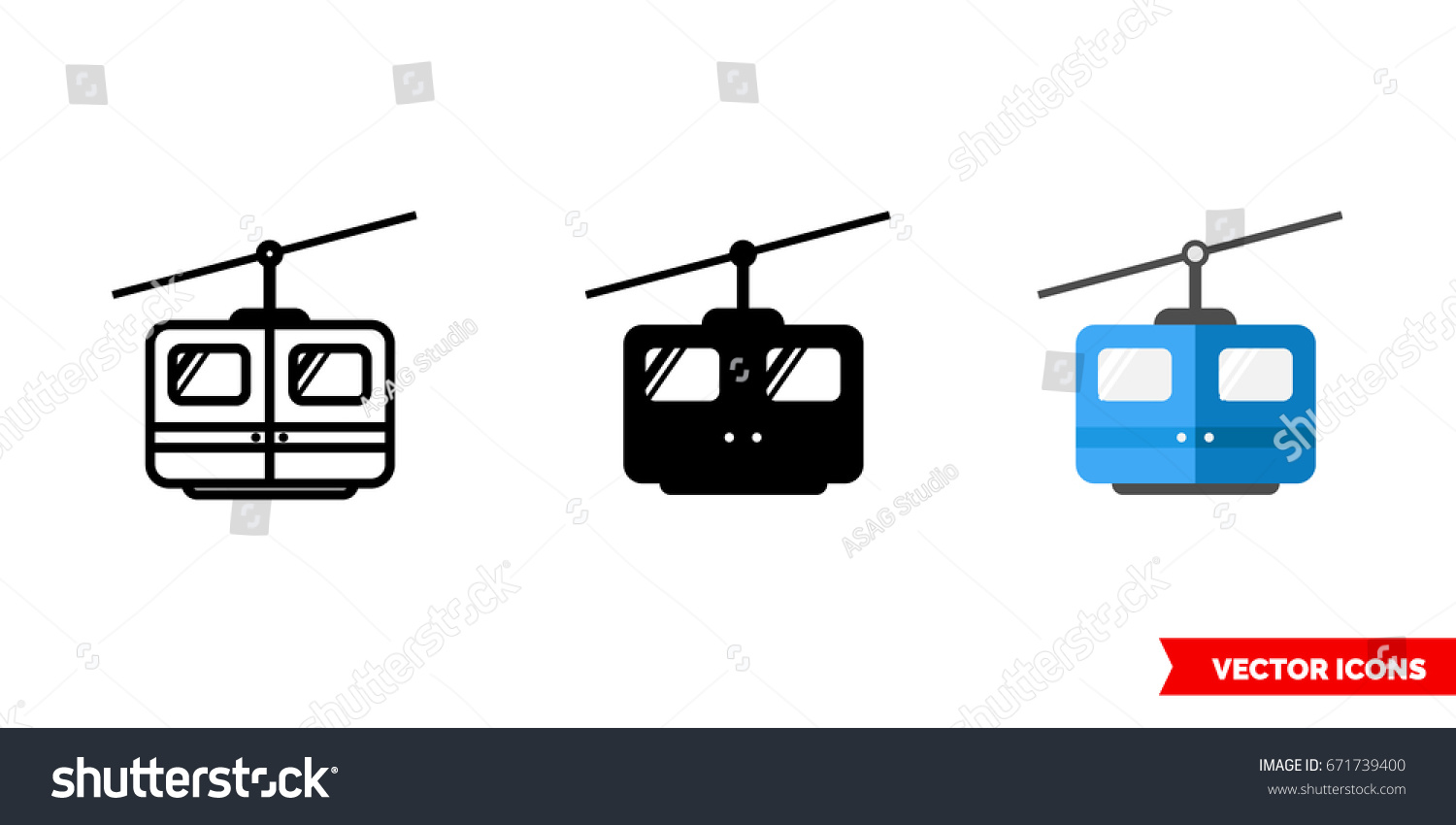 Cable Car Icon 3 Types Color Stock Vector HD (Royalty Free ...