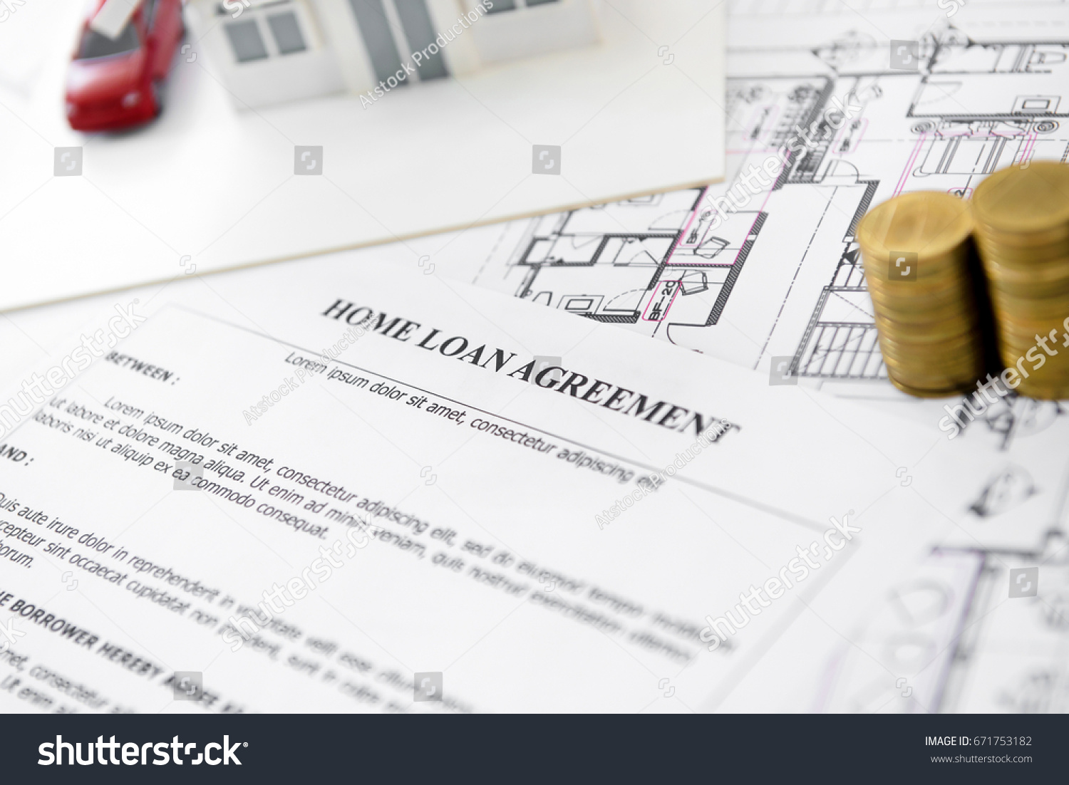 Home loan agreement form paper house stock photo 671753182 home loan agreement form paper with house model blueprint and some money on the table malvernweather