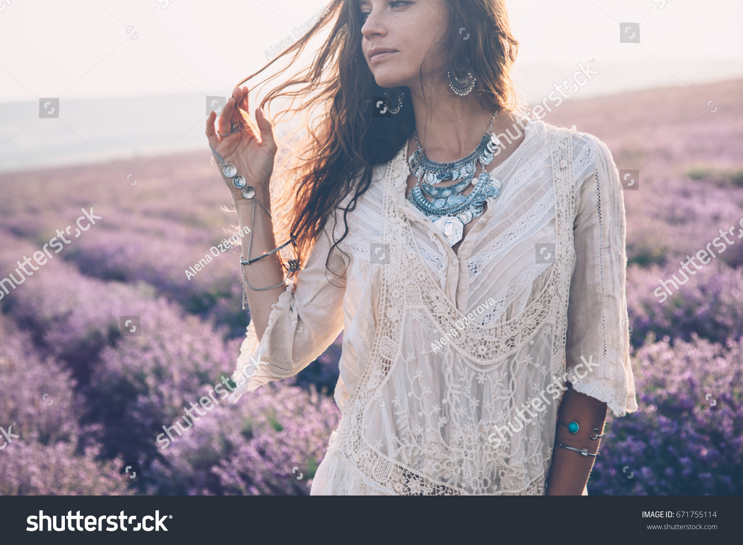 Beautiful Model Walking In Spring Or Summer Lavender Field Sunrise Backlit Boho Style Clothing