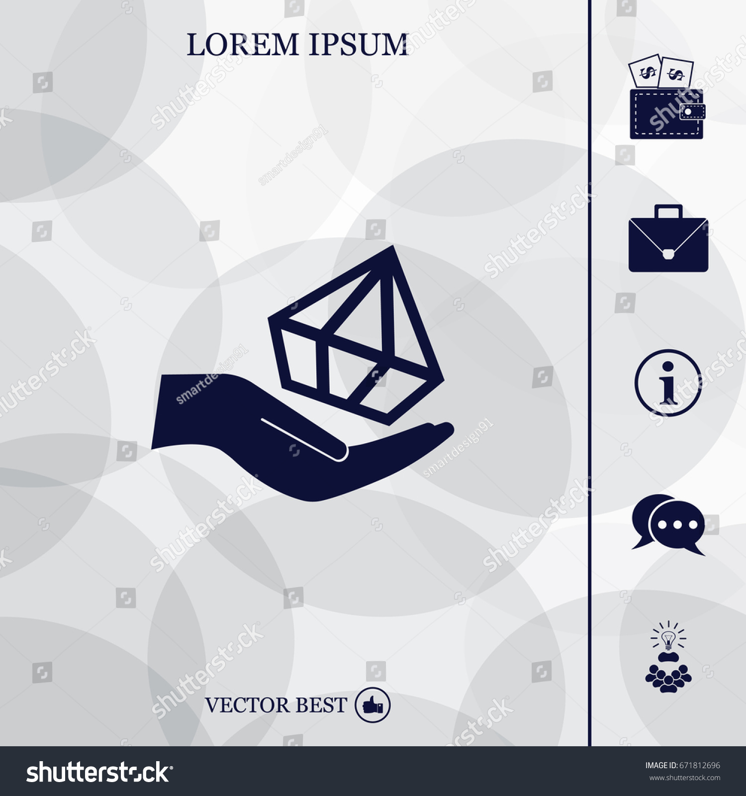 Jewelry insurance sign hand holds diamond stock vector 671812696 hand holds diamond symbol brilliant insurance icon on blurred background biocorpaavc