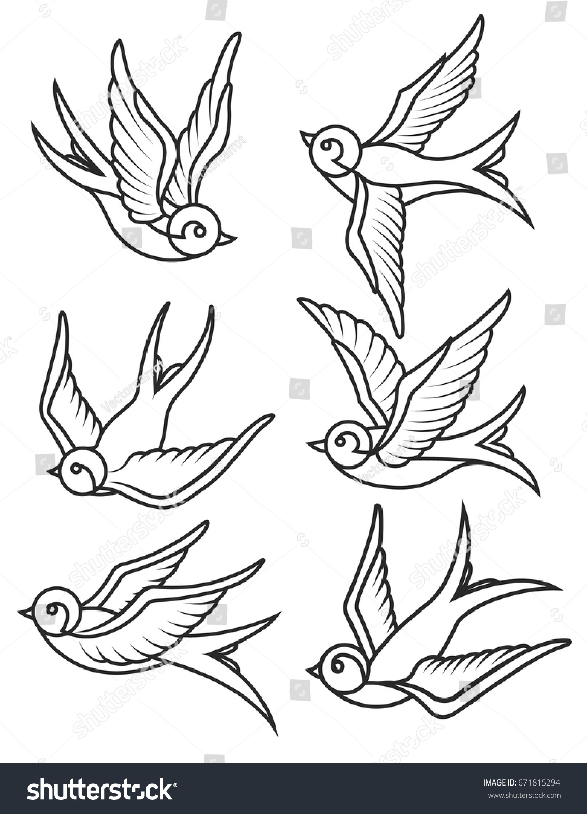 Set Swallow Tattoo Templates Isolated On Stock Vector Royalty Free