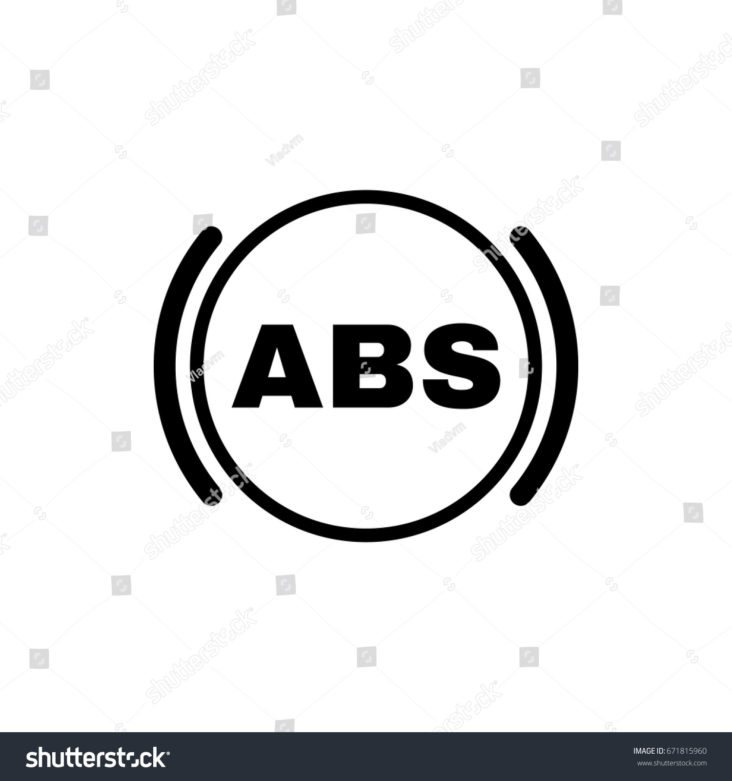 Abs Icon Brake Car Symbol Flat Stock Vector Royalty Free 671815960