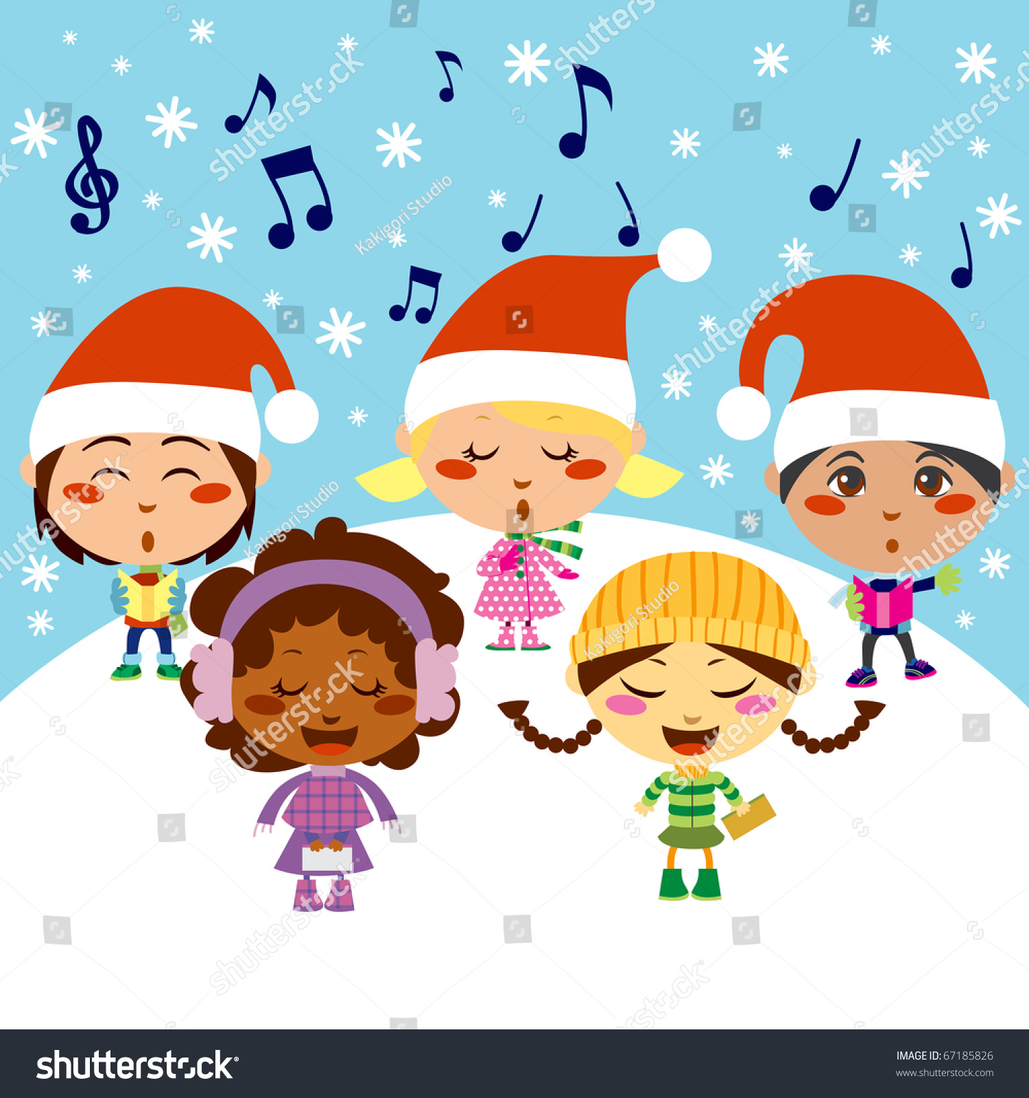 Five Kids Singing Christmas Carols While Stock Illustration 67185826 ...