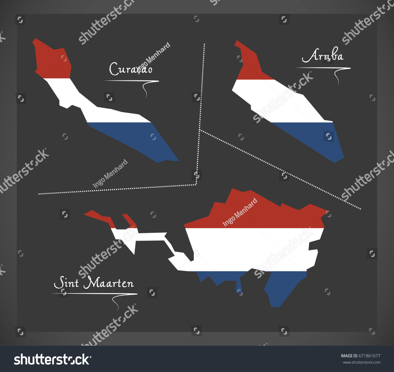 Curacao Aruba Sint Maarten Netherlands Map Stock Vector 671861677
