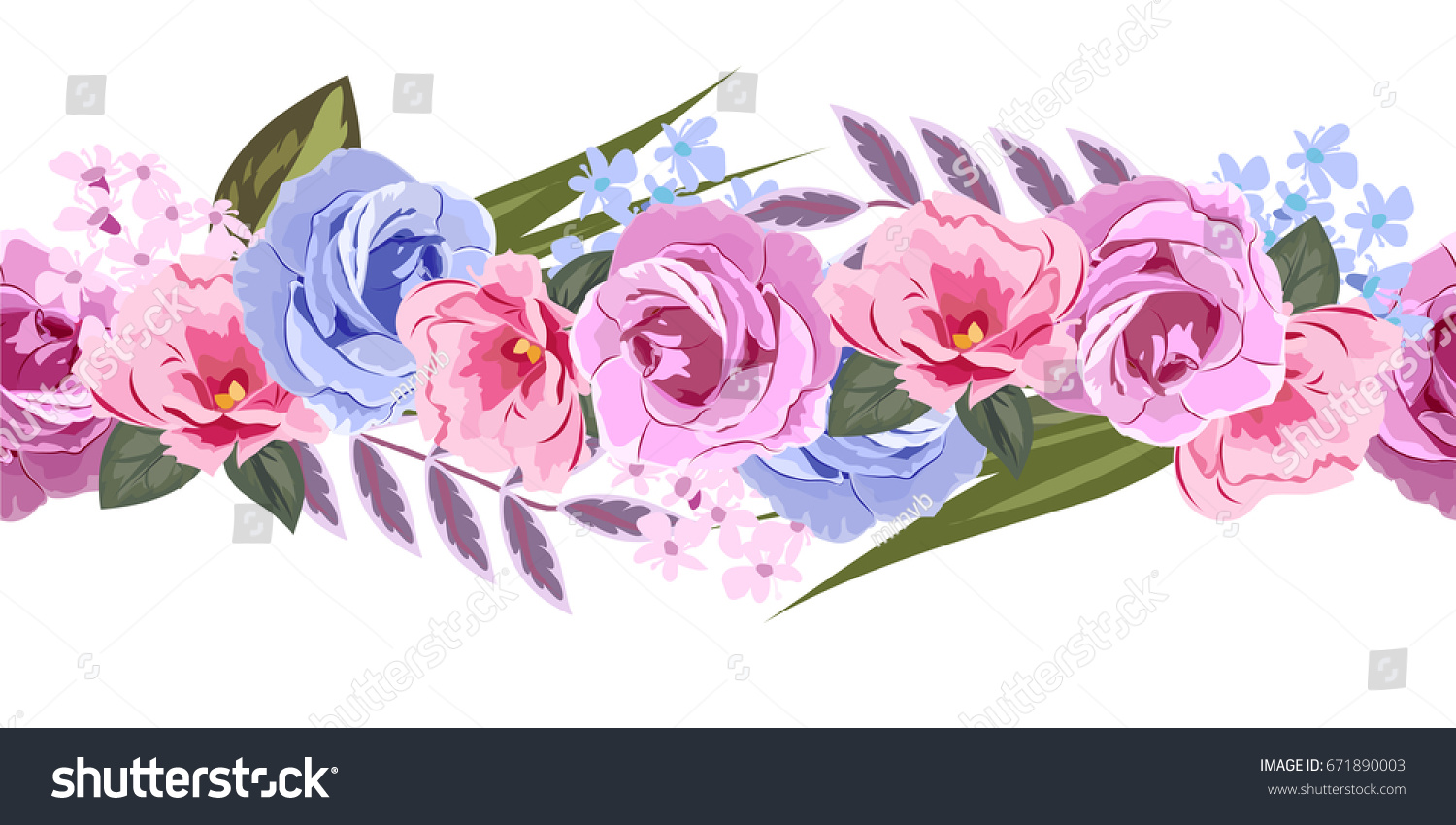 Seamless floral border cute pink flowers stock illustration seamless floral border with cute pink flowers and beautiful roses hand drawn pattern on mightylinksfo