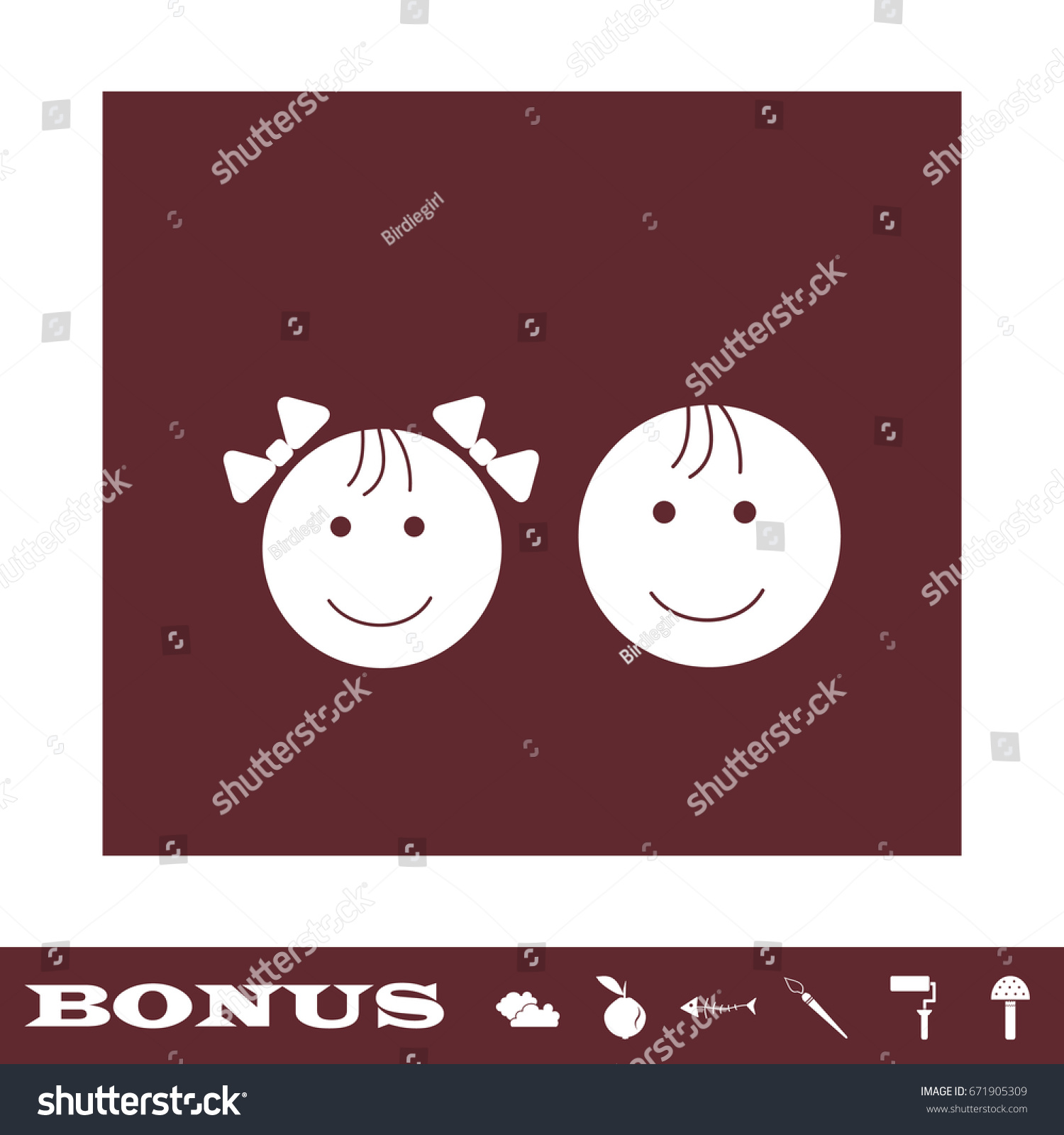 Kid Faces Icon Flat White Pictogram Stock Vector 671905309