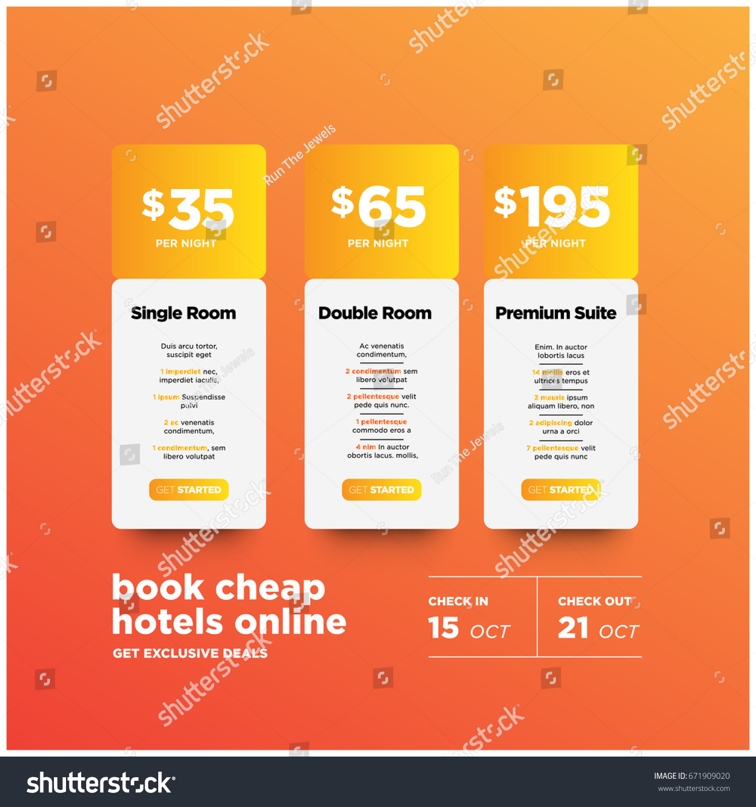 Book cheap hotels online ui design with different prices and packages