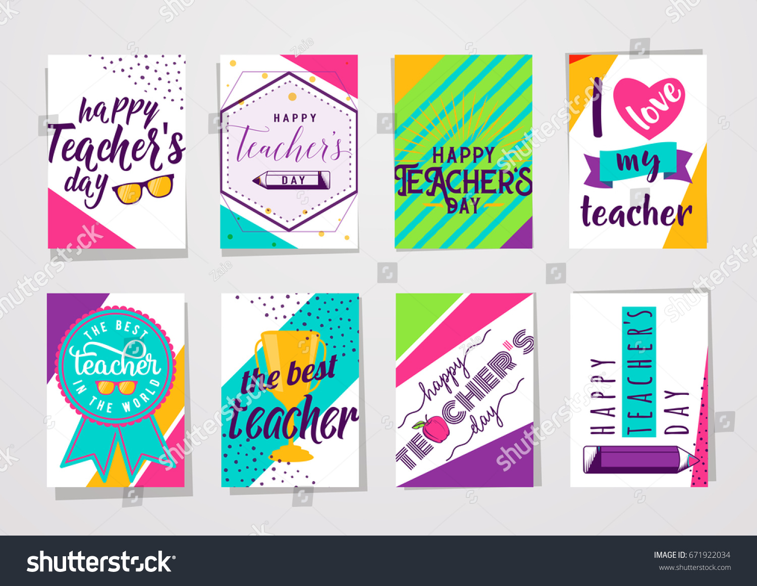 Vector illustration color happy teachers day stock vector 671922034 vector illustration of color happy teachers day lettering typography card set greeting design for poster kristyandbryce Choice Image