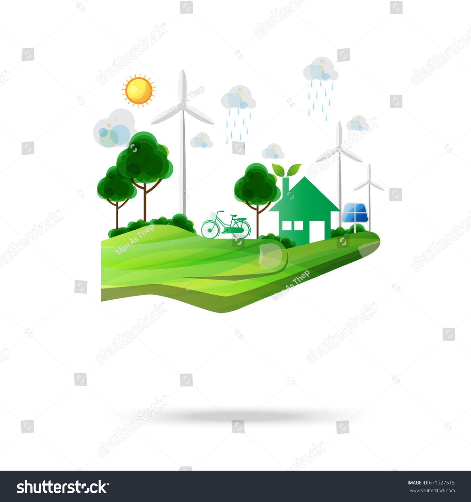 Environmental Concept Earthfriendly Landscapes: Renewable Energy Conceptual Ideanature Eco Friendly Stock