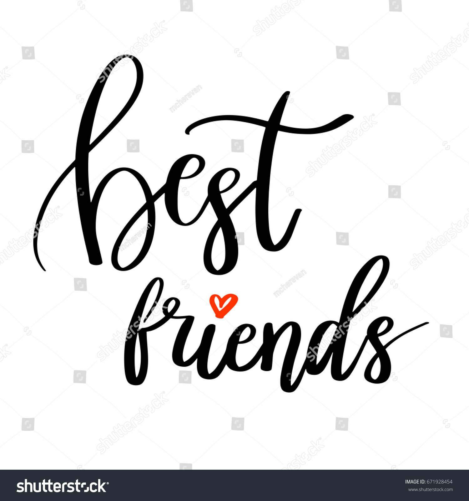 Best Friends Calligraphy Quote Hand Lettering Stock Vector