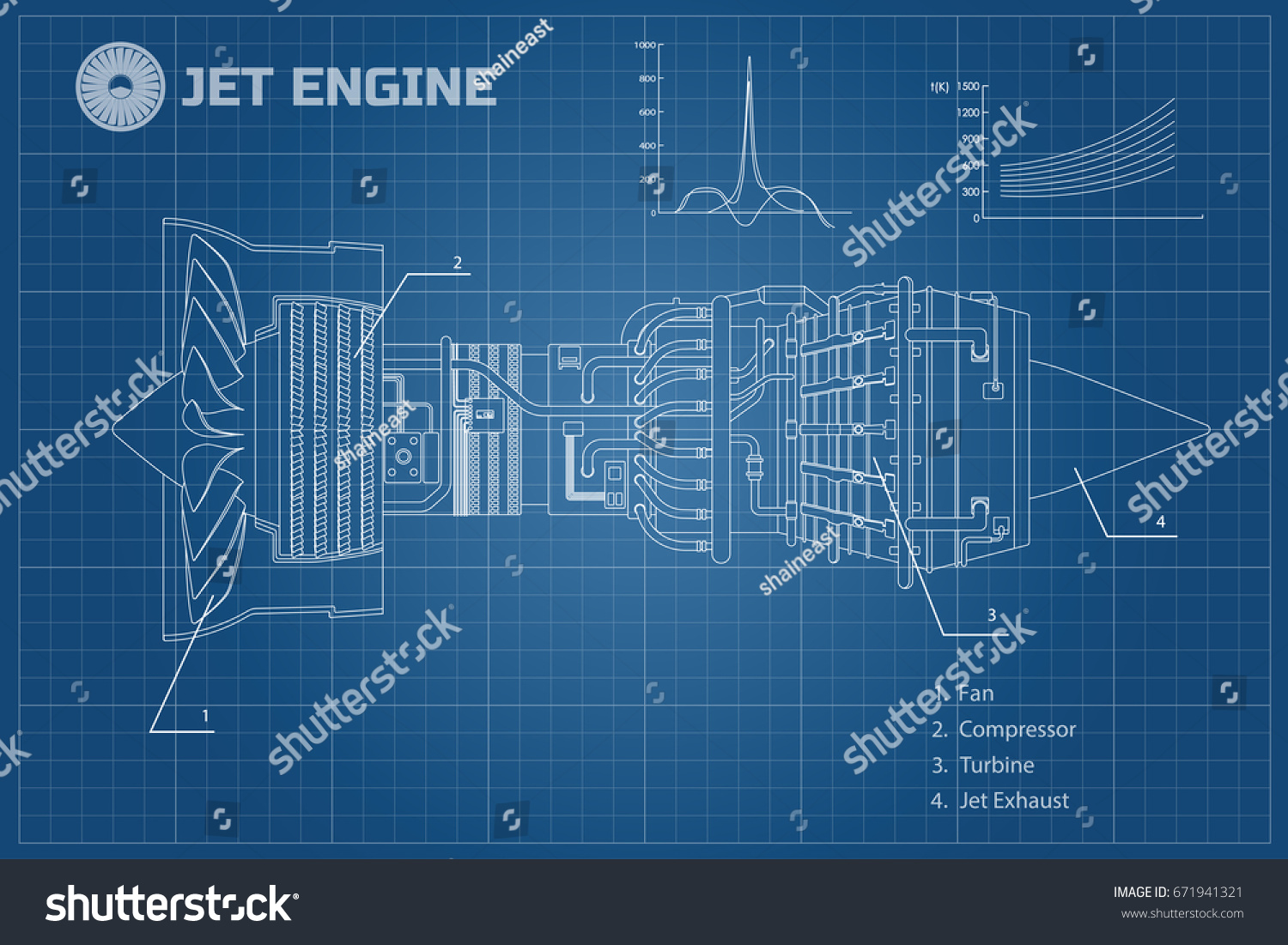 Jet engine of airplane. Outline style. Industrial aerospase blueprint. Part  of the aircraft