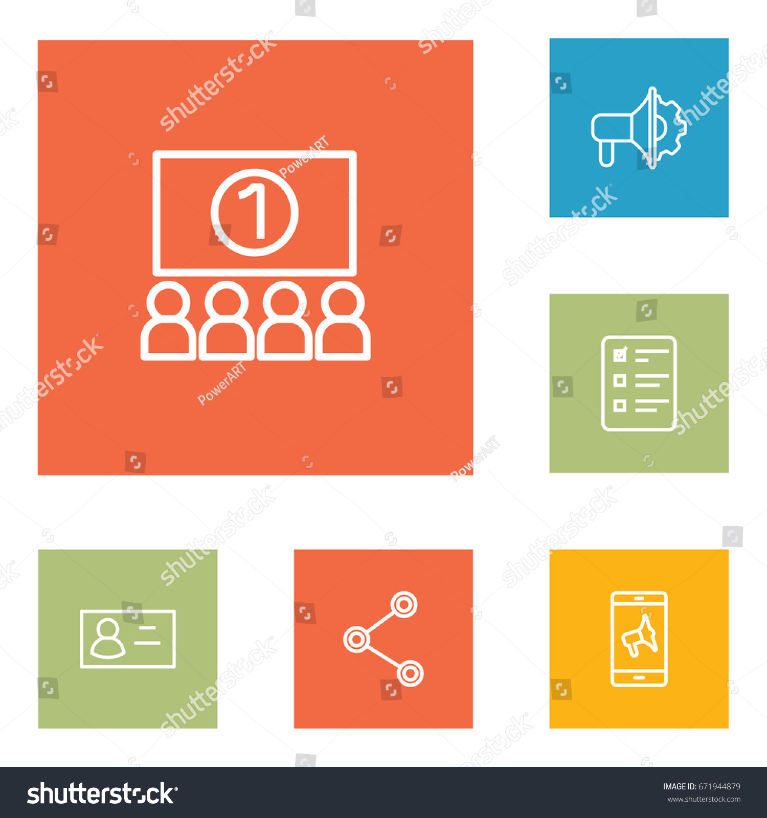 Set 6 Advertising Outline Icons Set Collection Stock Vector ...
