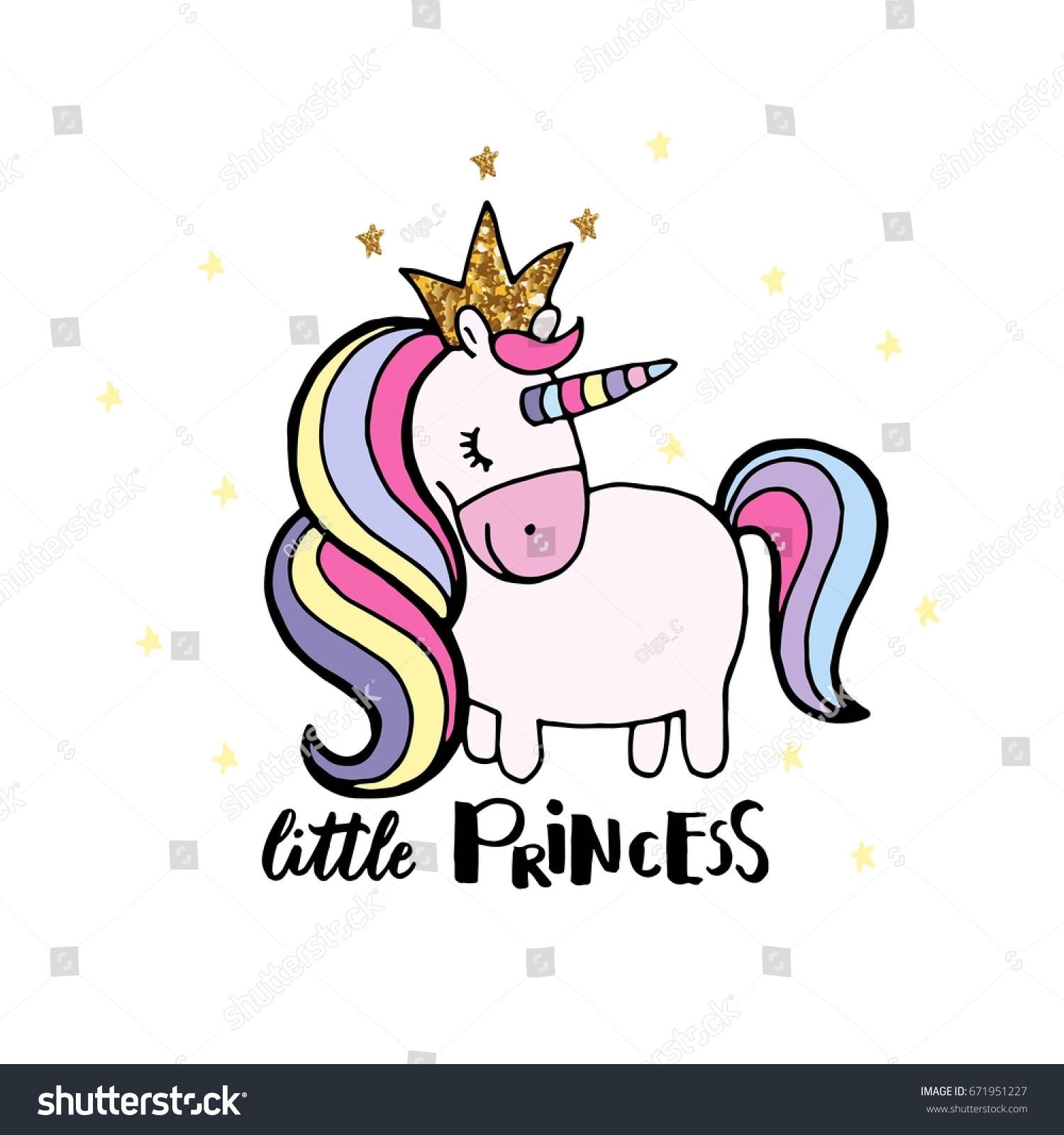 Children Book Cover Design By Hand : Cute hand drawn unicorn vector design stock
