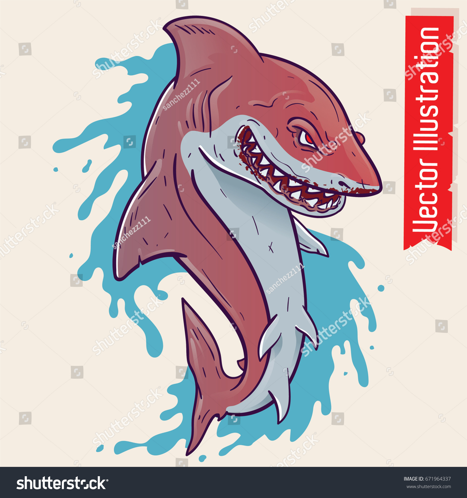 shark open mouth shark tattoo prints stock vector 671964337