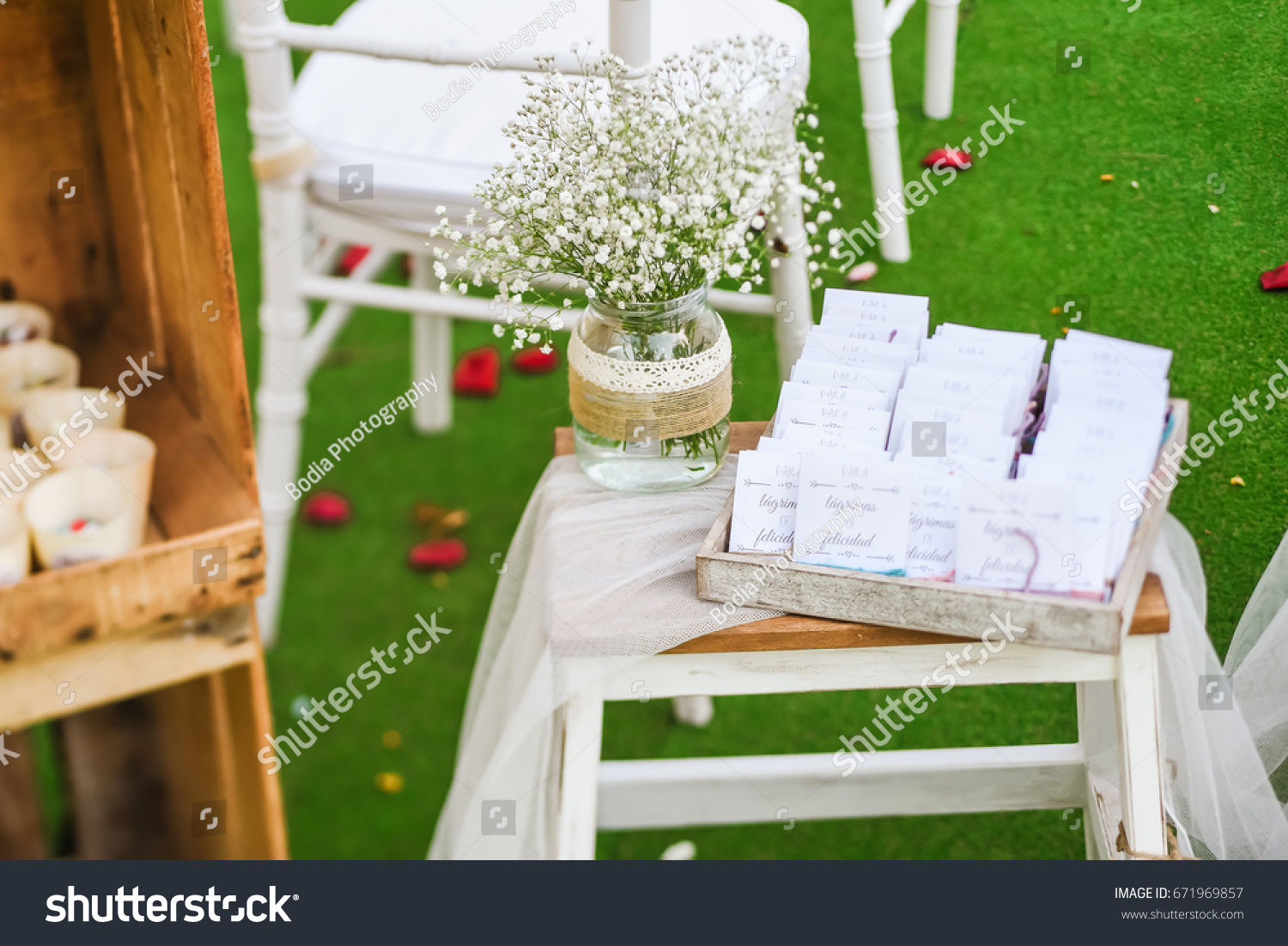 Rustic wedding outdoor photo zone hand stock photo 100 legal rustic wedding outdoor photo zone hand made wedding decorations includes wooden boxes vase with junglespirit Choice Image