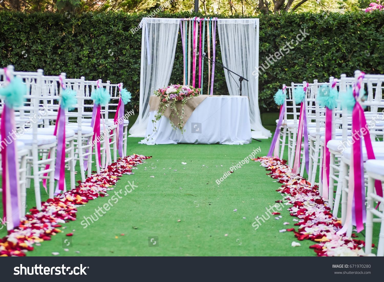 Outdoor Wedding Ceremony Decoration Setup Path Stock Photo Edit Now