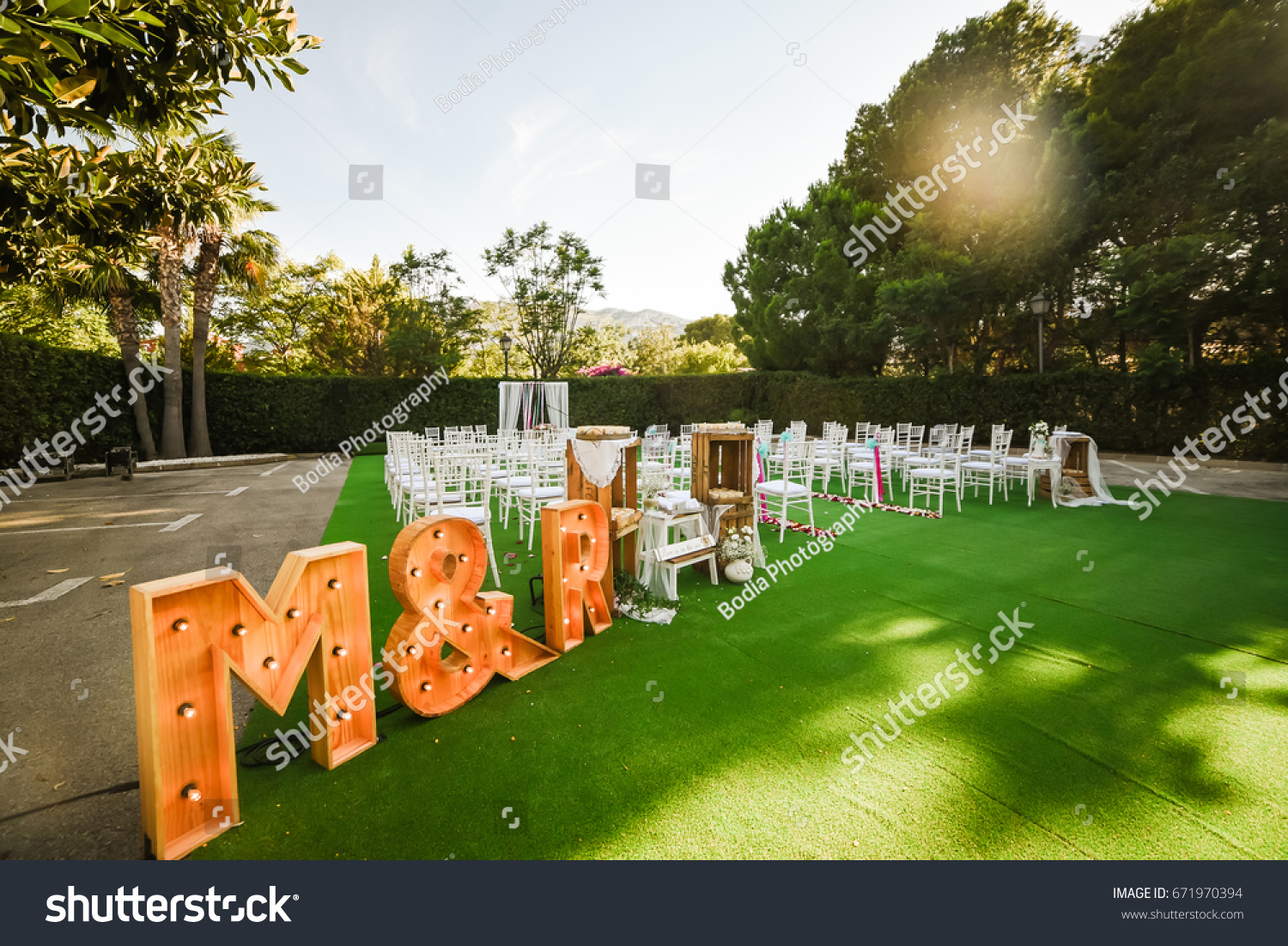 Rustic Wedding Outdoor Photo Zone Hand Made Decorations Includes Two Big Letters M And