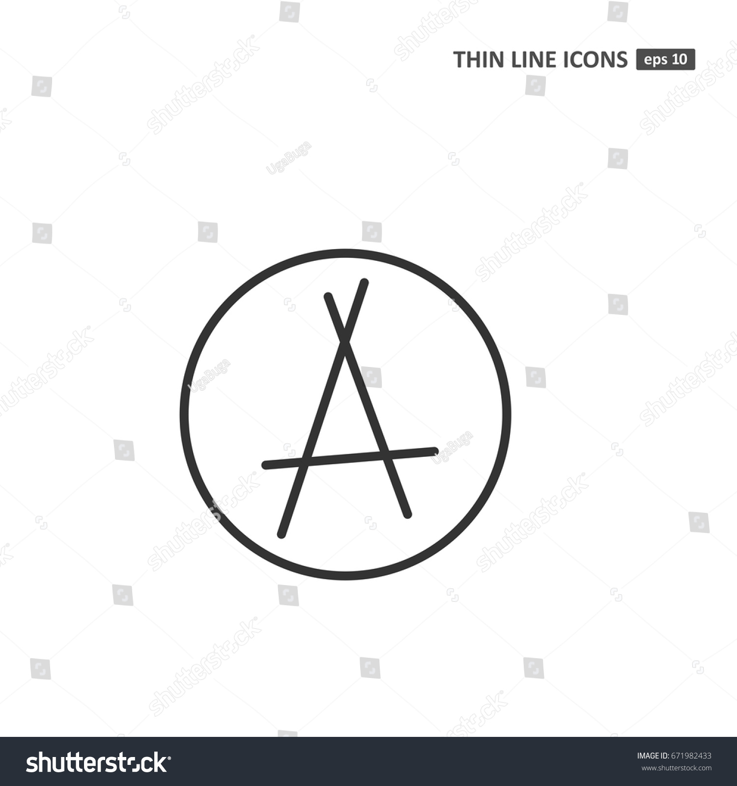 Anarchy vector thin line icon on stock vector 671982433 shutterstock anarchy vector thin line icon on white background symbol for web infographics buycottarizona